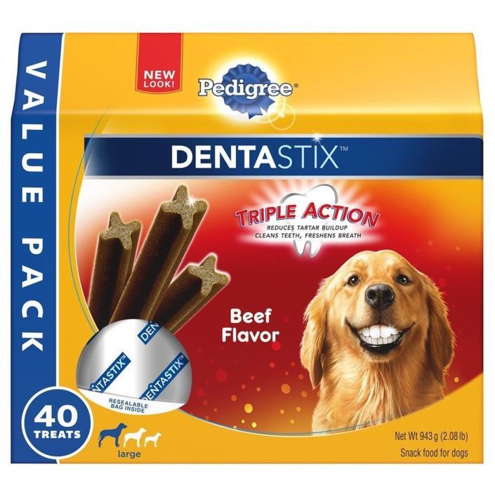 Pedigree 10113523 Dentastix Large Dog Treats Beef 40 Count NIP