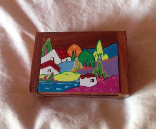 Vintage Costa Rica Colorful Seaside Scene Wooden Box