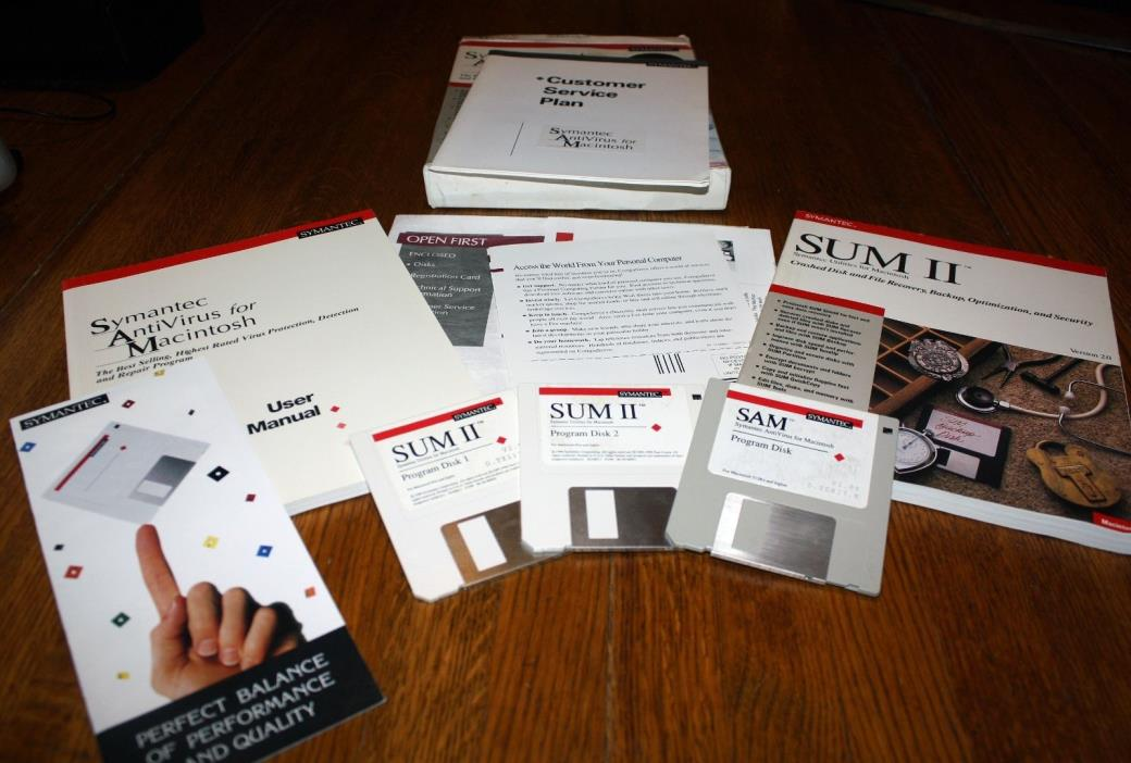 Vintage SAM Symantec AntiVirus Software v 2.0, 1990 for Mac OS 6.x • 06-40-0002
