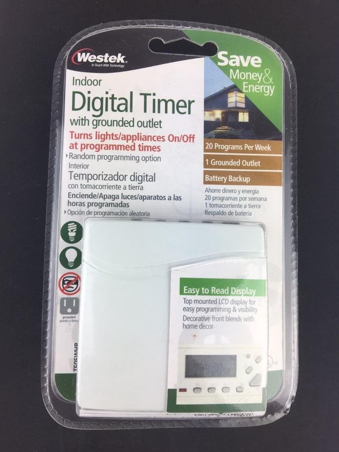 Westek TE05WHB INDOOR DIGITAL TIMER WITH Grounded Outlet 20 PROGRAMS A WEEK