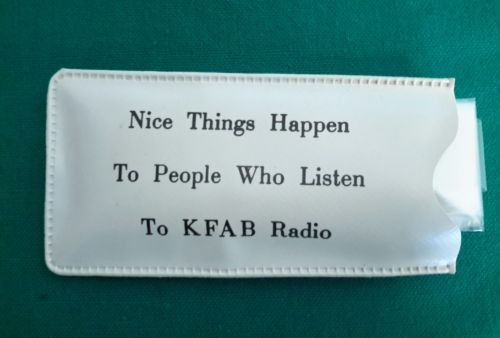 Vintage KFAB (Omaha Nebraska) RADIO Advertising RAIN CAP w/ Pouch (Case)