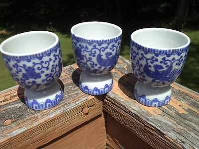 3 Vintage Phoenix Bird Flying Turkey Blue & White Double Egg Cups