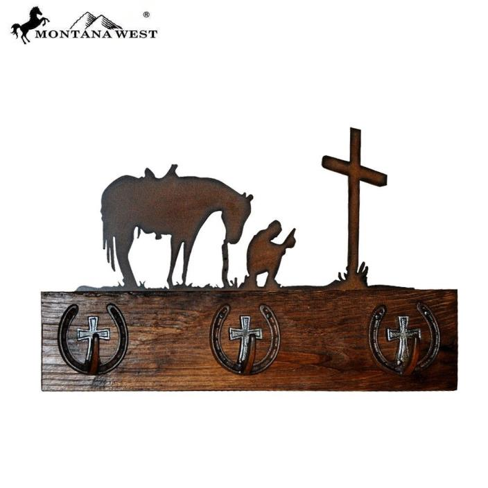 Wood Cowboy Prayers Coat Rack