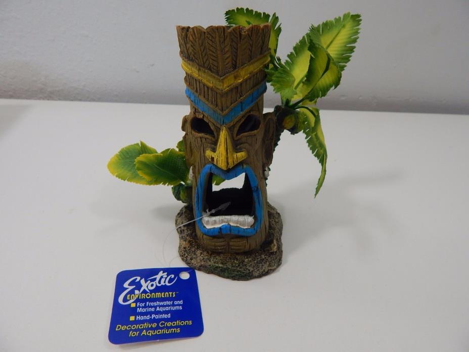 Exotic Environments Tiki Head Statues With Palm Tree EE-498 - Aquarium/Terrarium