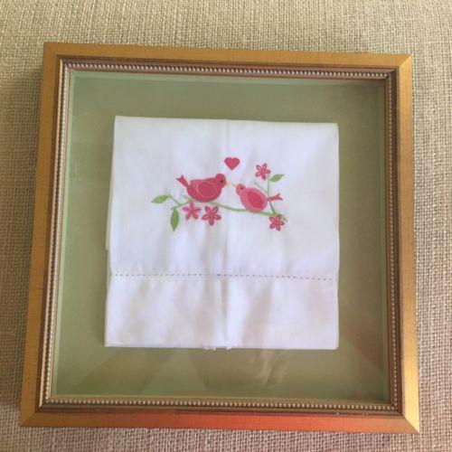 Custom Framed Love Birds Linen Hand Towel Shadow Box Frame Estate Find