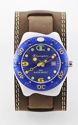 Champion Watch Mens Stainless Steel Silver 50m Brown Leather Date Blue Quartz