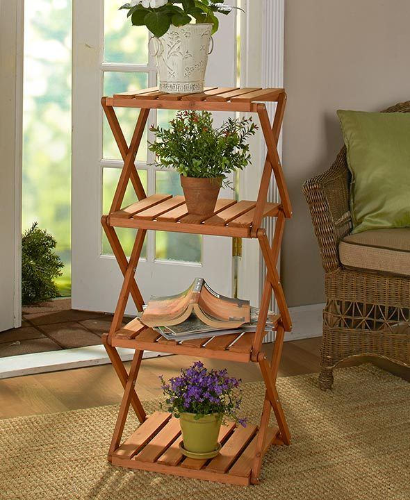 Lightweight Real Wood 4-tier Foldable Accordion Design Display Storage Shelving
