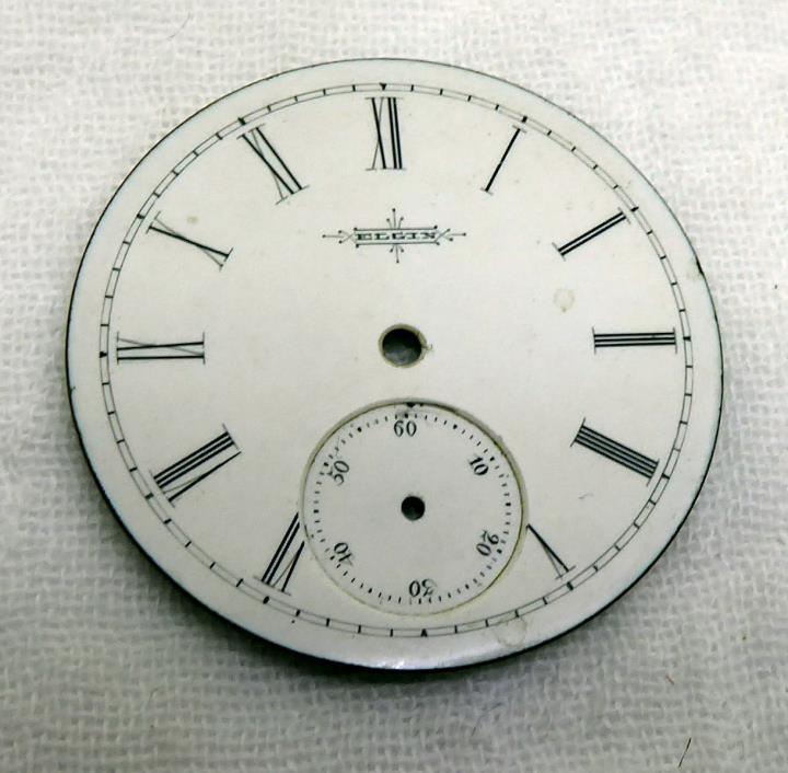 Beautiful Antique Elgin Enamel Pocket Watch Dial - 36mm Steampunk Parts Repair