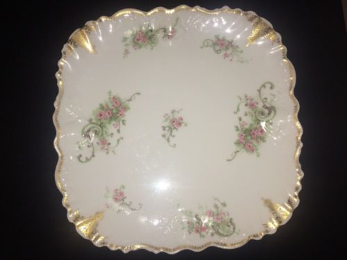 D C Limoges Serving Plate Hand Painted Gold Accents