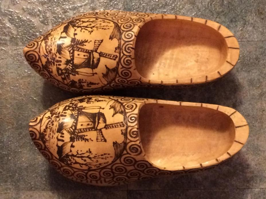 VINTAGE DUTCH WOODEN CARVED SHOES with WINDMILLS