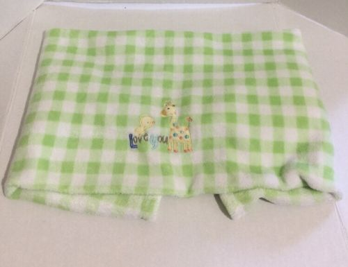 Just One Year Baby Blanket Green White Gingham Checkered Love You Giraffe Duck