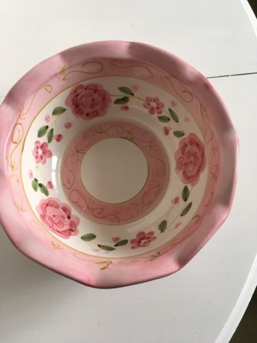 Decorative Fruit Bowl , Pink Flowers, Ceramic,