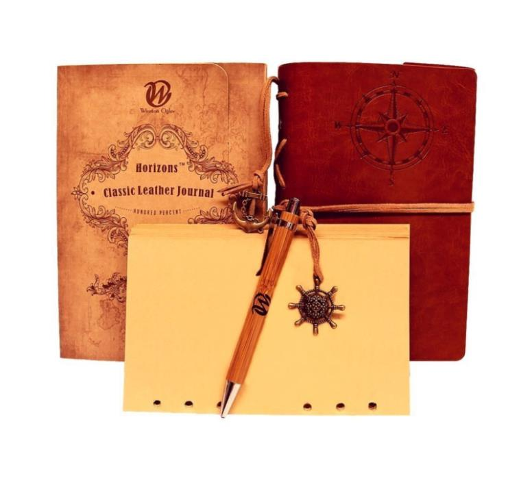Classic Refillable Writing Journal (Naval Compass Embossing) - Vintage Leather (