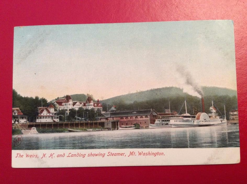 X12 1900's The Weirs NH Landing Showing Steamer Boat Mt Washington RARE Postcard