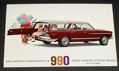 1963 Rambler Ambassador 990 Cross Country Station Wagon Postcard