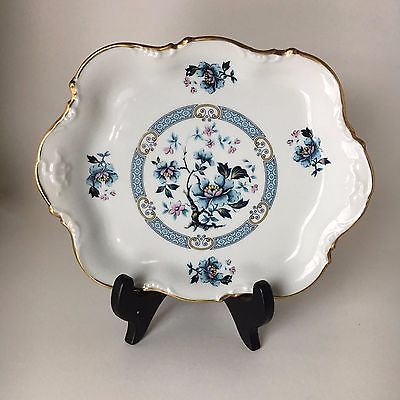Rare Limoges France Hand Painted Dresser Tray Blue Floral
