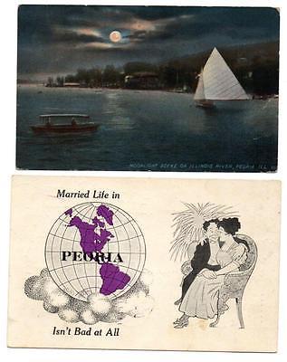 J4281: Illinois PEORIA Moonlight Scene ~ Married Life 1913/14 Postcards (2)