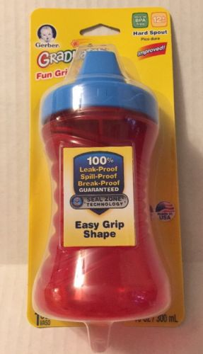 Gerber Cup Hard Spout Fun Grips Nuk 10 Oz NIP Red Blue