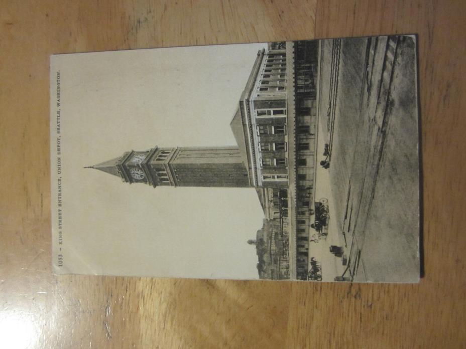 #1053 King Street Entrance, Union Depot, Seattle, Washington vintage postcard