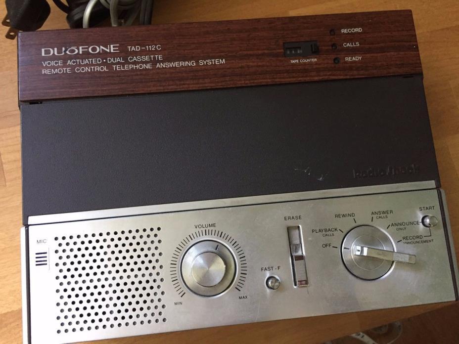 Vintage Radio Shack Answering Machine DUOFONE TAD-112 C Dual Cassette Untested