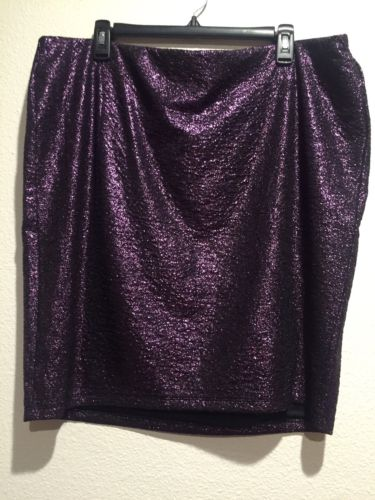 NWT TORRID ~ Womens Plus Size Size 3 22 24 Purple Pencil Metallic Mini Skirt