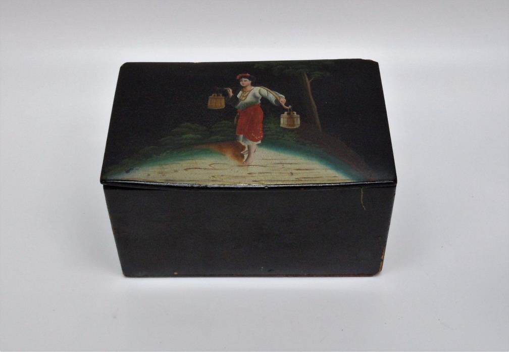 Antique Russian Lacquer Tea Cady/Box w/Original Fabric Liner