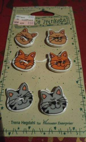Vintage Trena's Trinkets Cats Kittens Face Ceramic Buttons - 6 Buttons