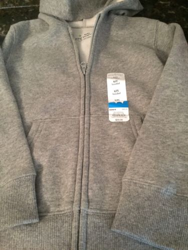 JUMPING BEANS Boys Zip Up Hooded Fleece Jacket GRAY Size 7 NWT !