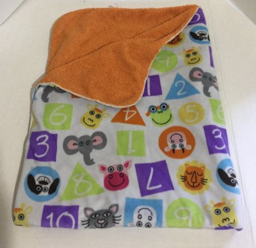 Tiny Tillia Avon Orange Numbers Animals Sherpa Baby Blanket Lovey