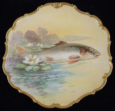 Flambeau (LDBC) Limoges Single Large Fish w/ Water Lilies Handpainted Plate