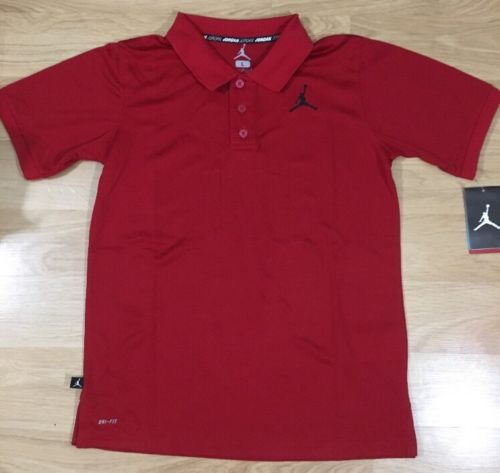 Jordan Dri Fit Collared Shirt Youth Size Large 12-13 Years Red NWT!!