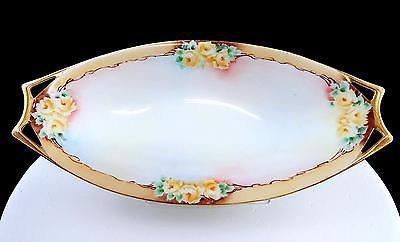HUTCHENREUTHER SELB BAVARIA YELLOW ROSES GOLD HANDLED OVAL 9 1/8