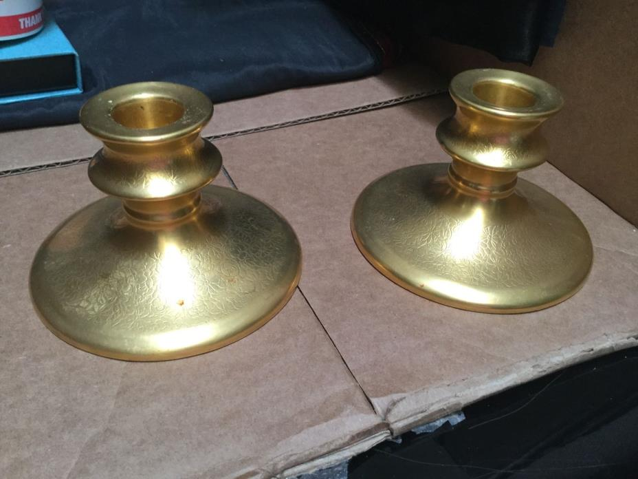 Pickard Gold China Candle Holders Set of 2