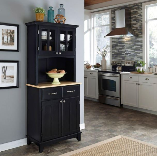 Small Server Buffet, Kitchen Storage Solid Hardwood Cabinet Furniture With Hutch