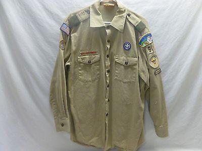 BSA Boy Scout Uniform Mens Leader Shirt Tan Khaki Long Sleeve XL
