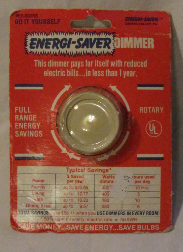 Vtg Energi-saver Dimmer switchplate NOS #ES-600RS ivory wall box