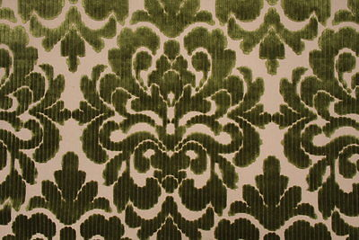 3D2 EXQUISITE GREEN CUT VELVET DAMASK UPHOLSTERY FABRIC 10 YARDS