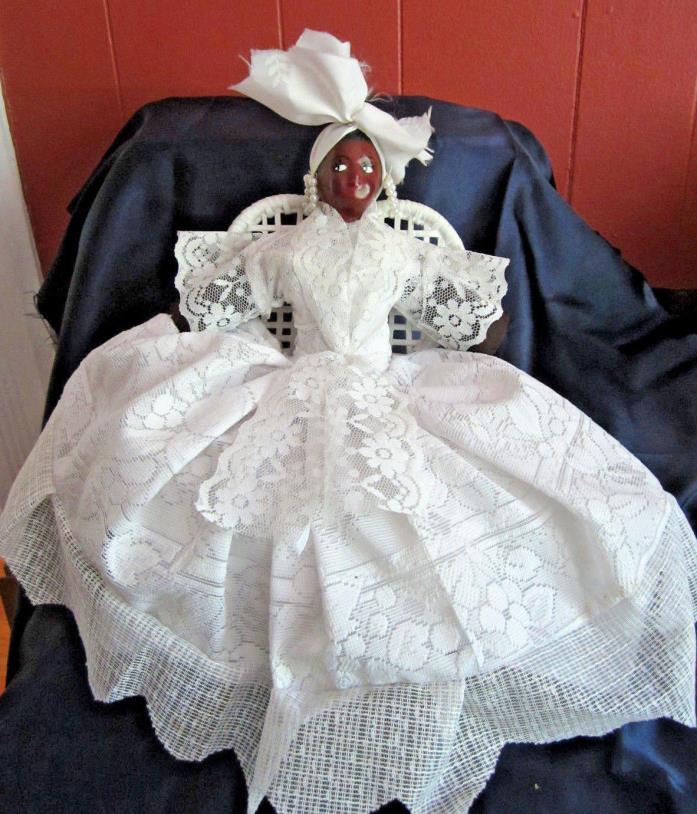 Jamaican black doll hoop pearl earrings white lace dress 15