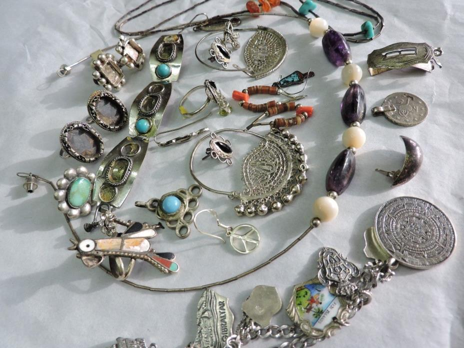 gorgeous VINTAGE TURQUOISE SILVER SOME STERLING CRAFT LOT