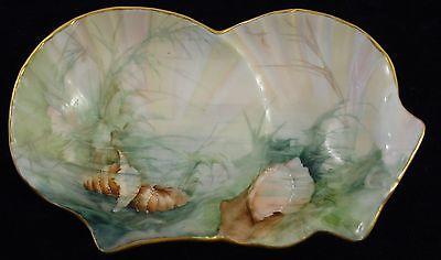 Tressemann & Vogt Limoges Handpainted Ocean Pattern  Shell Design Plate/ Bowl