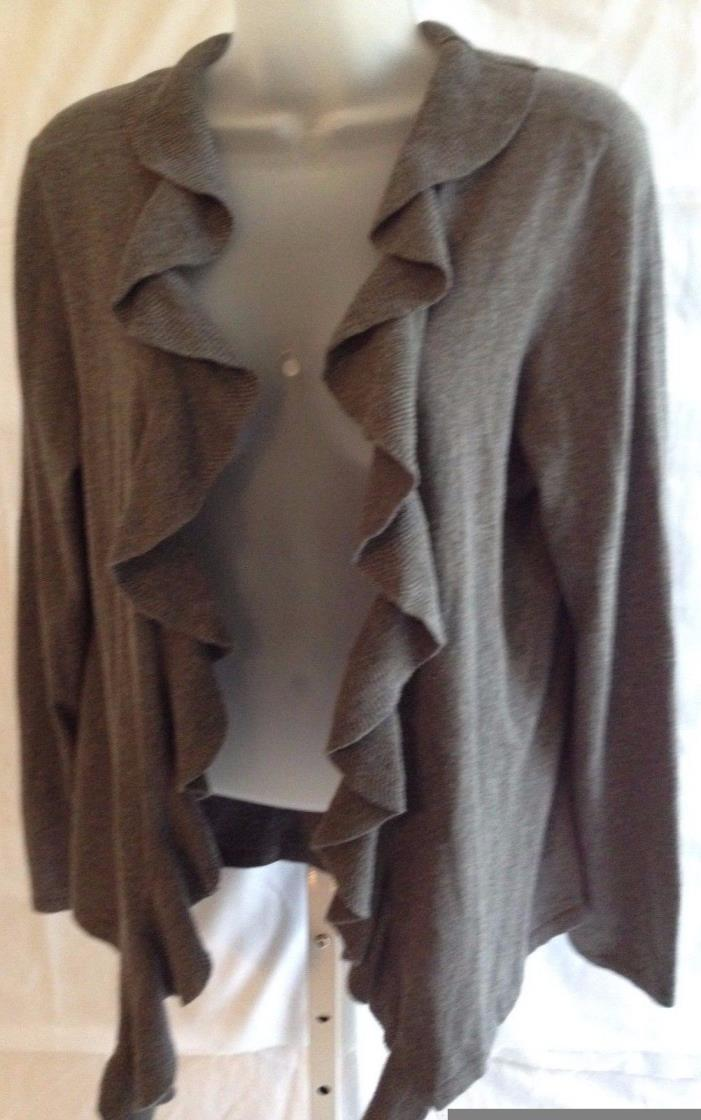 womens sweater Talbots L large grey waterfall ruffles lightweight  EUC