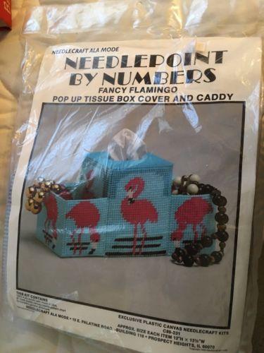 Vintage Needlepoint By Number Fancy Flamingos  Kit Unused