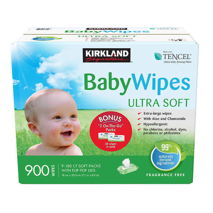 Kirkland Signature Baby Wipes (900 count) w/ Tencel
