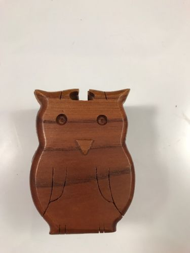 Wood Owl Puzzle Box Decor 4.5