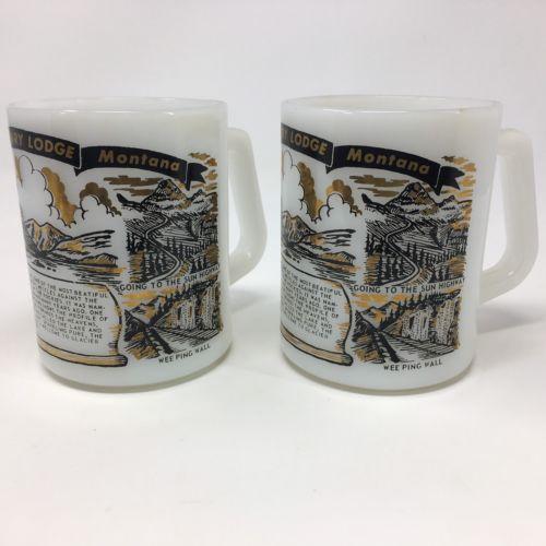 Glacier Park Milk Glass Mug Cup Coffee Set Lot 2 Collection Collectors