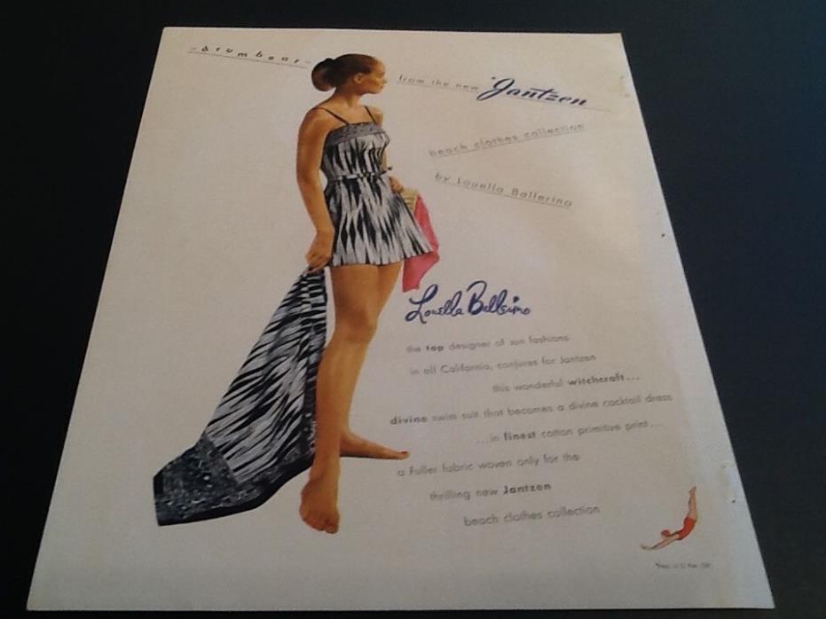 1947 JANTZEN Louella Ballerino Swimsuit Fashion Vintage Magazine Print AD