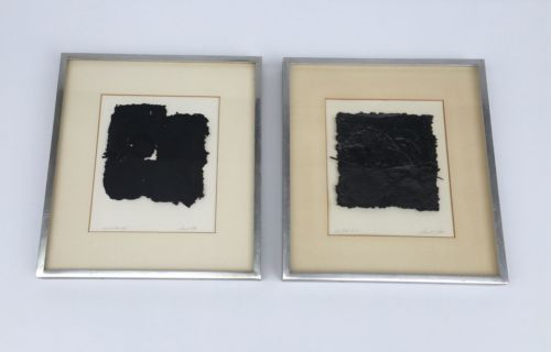 Vintage Artwork Hand Cast Paper Professional Black & White Signed Pair
