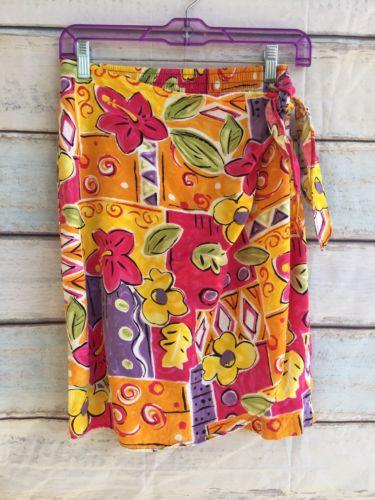VTG Lolani Sz Small Aloha Hawaii Silk Floral Faux Wrap Skirt Handmade Hibiscus