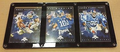 NEW YORK GIANTS 3 CARD PLAQUE OBJ, ELI MANNING, JASON PIERRE PAUL