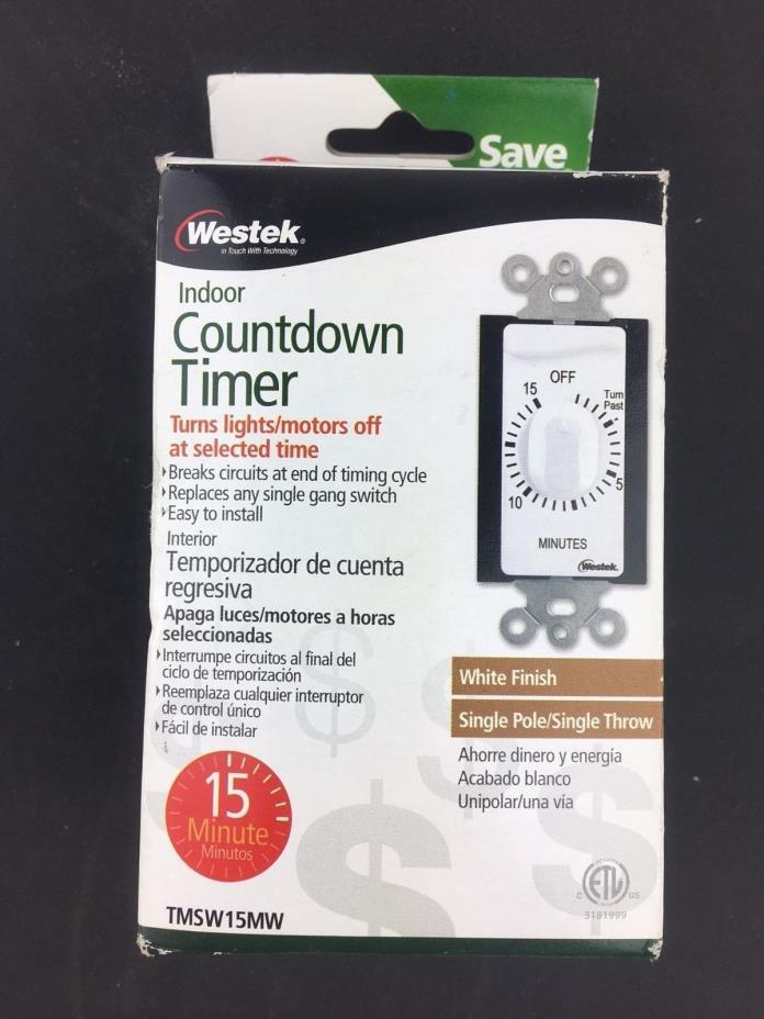 Westek TMSW15MI Hardwire Indoor In-Wall 15 Minute Mechanical Countdown Timer New